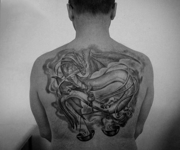 Dragon With Scale Guys Libra Upper Back Tattoos