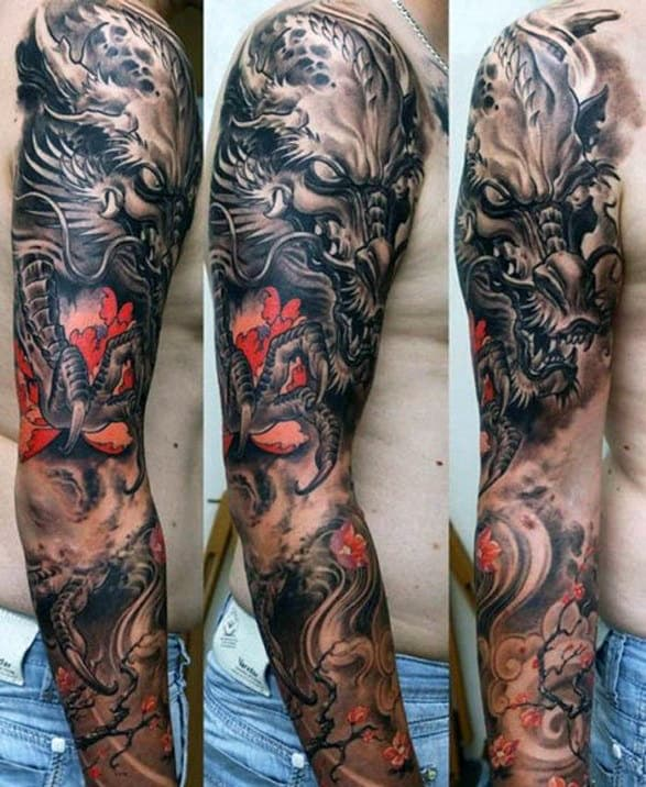 Dragon With Sharp Claws Tattoo Full Sleeves