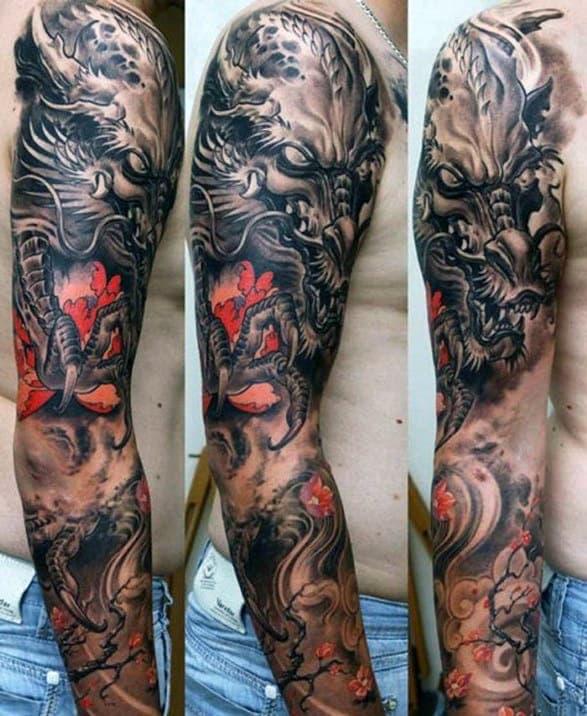 100 Dragon Sleeve Tattoo Designs For Men Fire Breathing Ink Ideas 688 x 1024 jpeg 144 кб. 100 dragon sleeve tattoo designs for