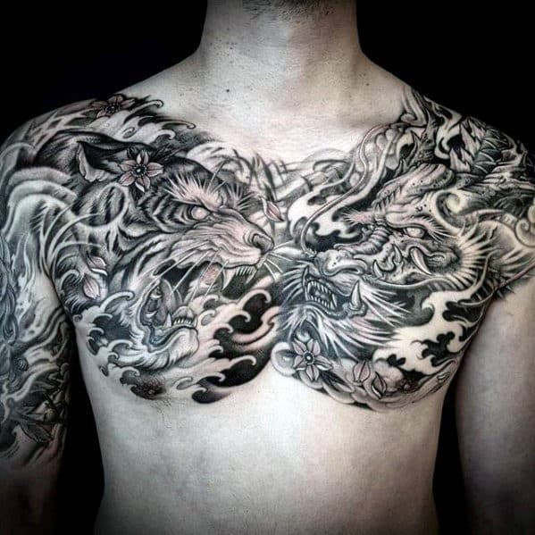 Dragon With Tiger Mens Upper Chest Tattoos