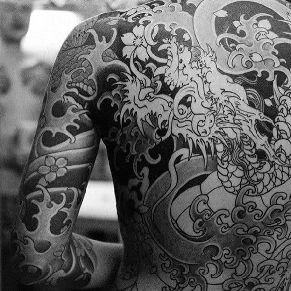 Dragon With Water Waves Japanese Back Tattoos