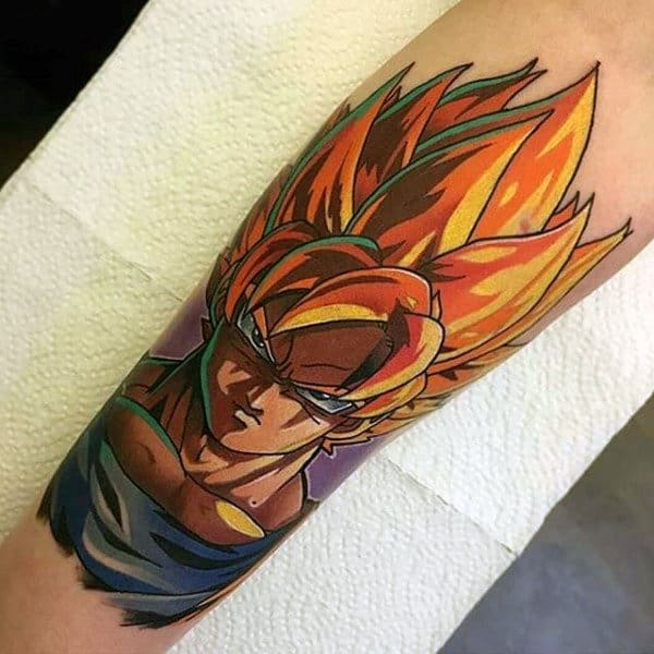Dragonball Z Mens Shaded Video Game Tattoo On Forearm