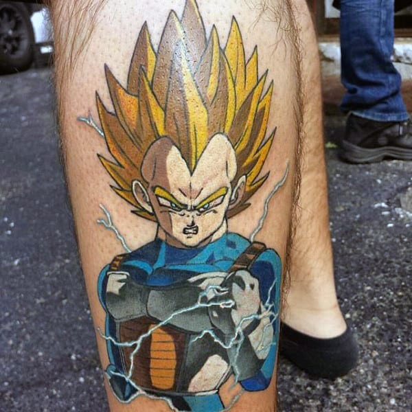 Dragonballz Male Tattoo Video Game Design On Leg