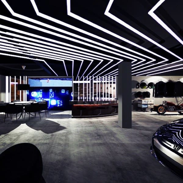 Dream Car Black Ceiling With White Lights Modern Design Attached Bar And Lounge