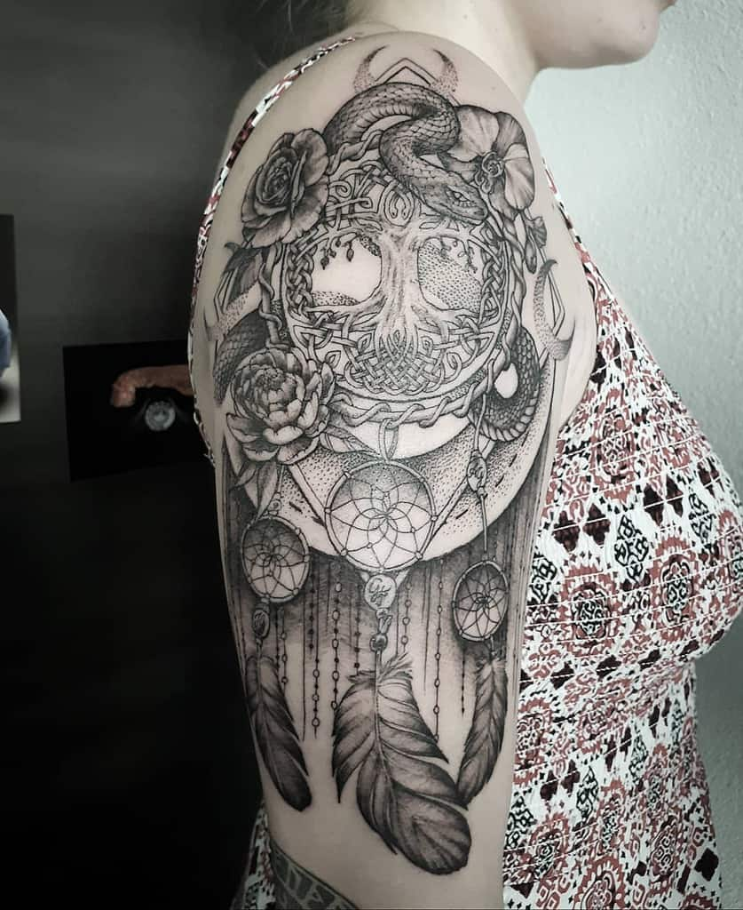 dream catcher yggdrasil snake tattoo