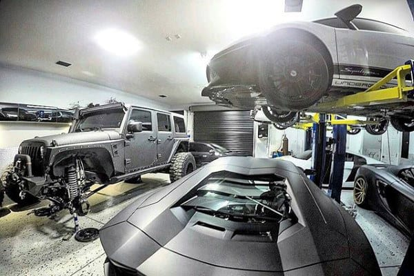 Dream Garage With Lift Lamborgini And Two Jeeps