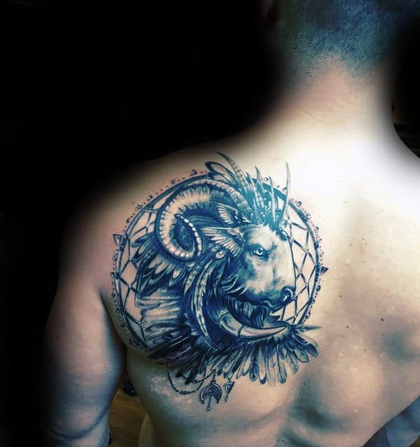 Dreamcatcher Ram Mens Shoulder Blade Tattoo