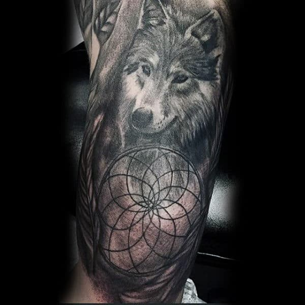 40 Dreamcatcher Tattoos For Men Divine Design Ideas Enchanting Wolf Head Dream Catcher