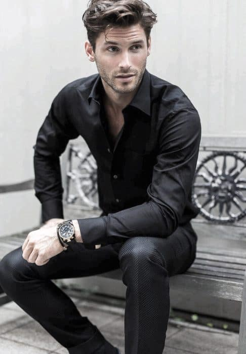 Dress Shirt And Pants All Black Outfits Mens Styles