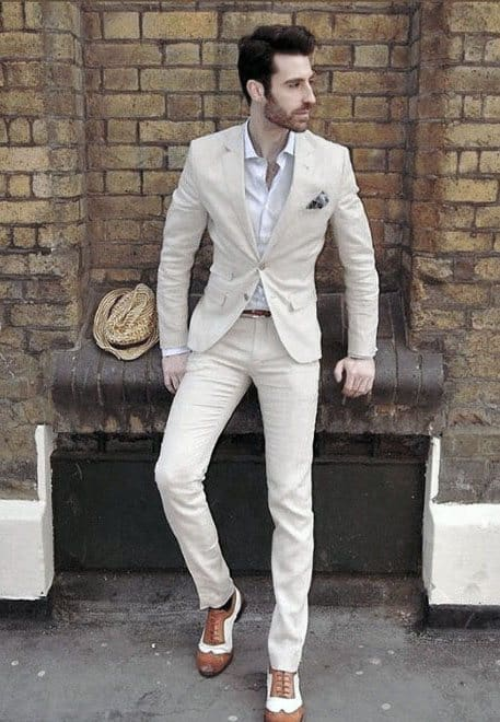 Dress Shirt With Suit Guys All White Outfit Style Ideas