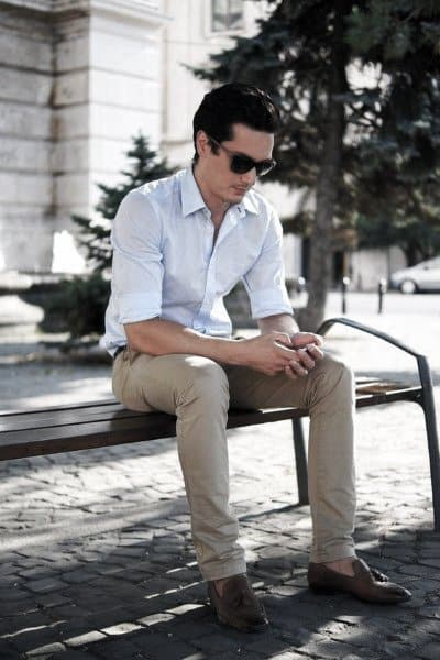 Dress Shoes With White Shirt And Tan Pants Mens Summer Outfits Styles