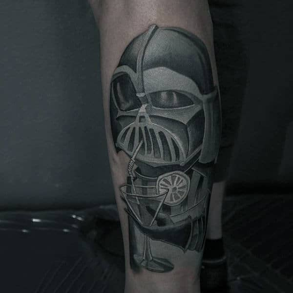 Drinking Darth Vader Tattoo Male Forearm