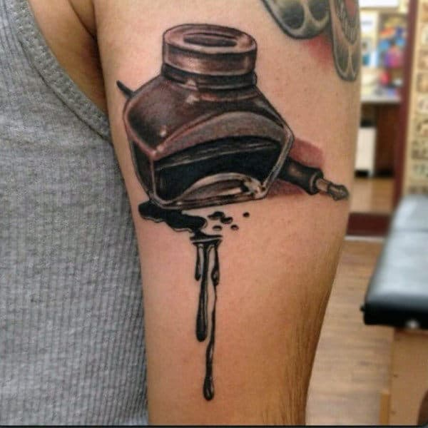 Dripping Dark Ink Bottle And Pen Tattoo Male Triceps