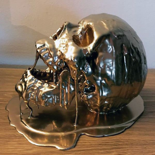 Dripping Gold Skull Man Cave Decor Acent