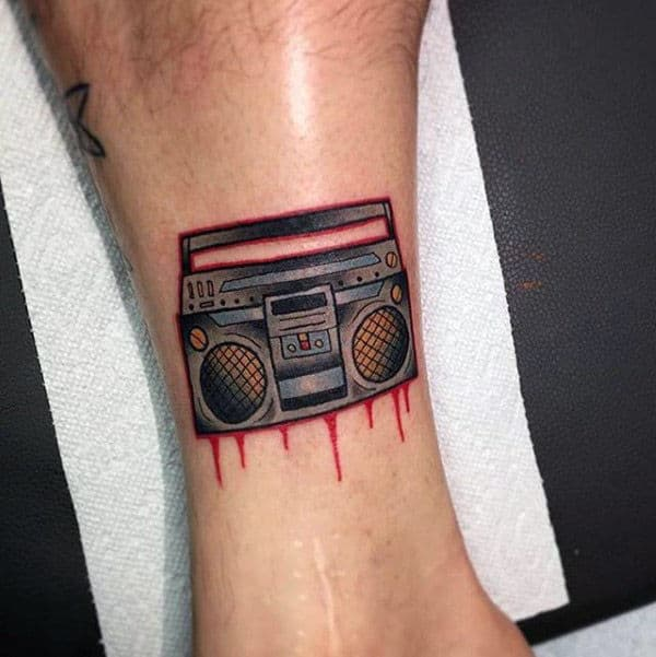 Dripping Paint Boombox Guys Small Lower Leg Tattoos