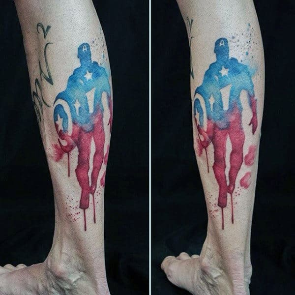 Dripping Paint Watercolor Captain America Leg Tattoos For Men