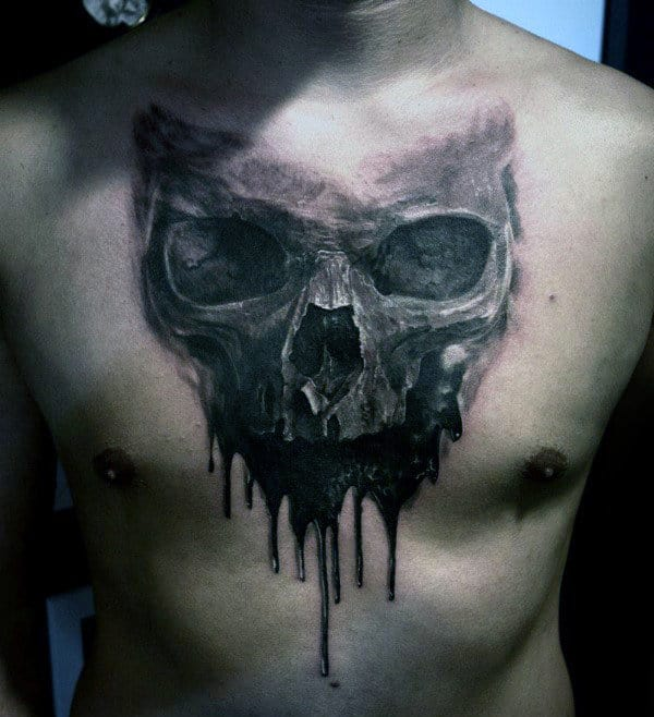 Dripping Skull Badass Watercolor Male Tattoos On Chest