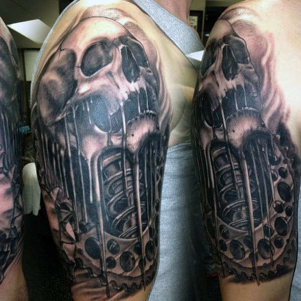Dripping Skull With Gear And Shock Motocross Mens Half Sleeve Tattoo Ideas