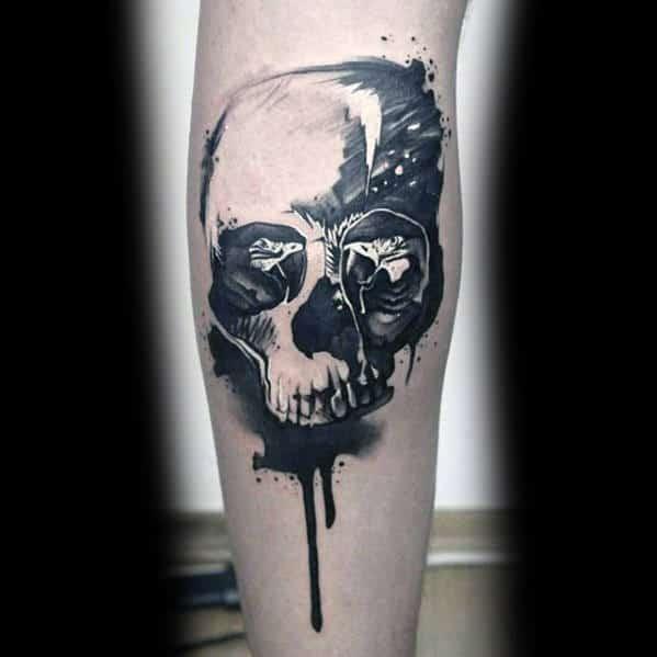 Dripping Watercolor Skull Guys Sweet Tattoo Leg Tattoo Designs