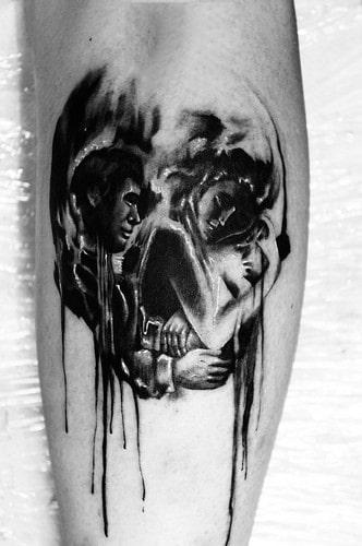 Dripping Watercolor Skull Optical Illusion Mens Leg Calf Tattoo