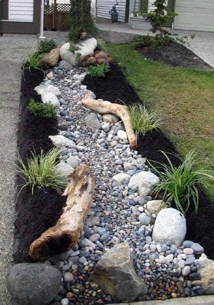 Driveway Excellent Exterior Ideas River Rock Landscaping