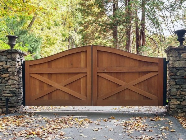 Driveway Gate Ideas Natural Stained Wood