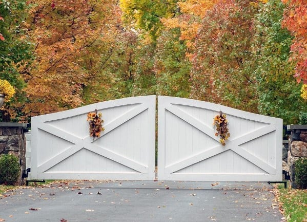 Driveway Gate Ideas White Painted Wood Boards