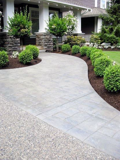Driveway Landscaping Idea Stamped Concrete