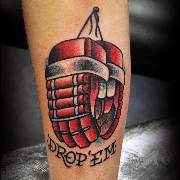 Drop Em Traditional Old School Hockey Gloves Tattoo For Guys