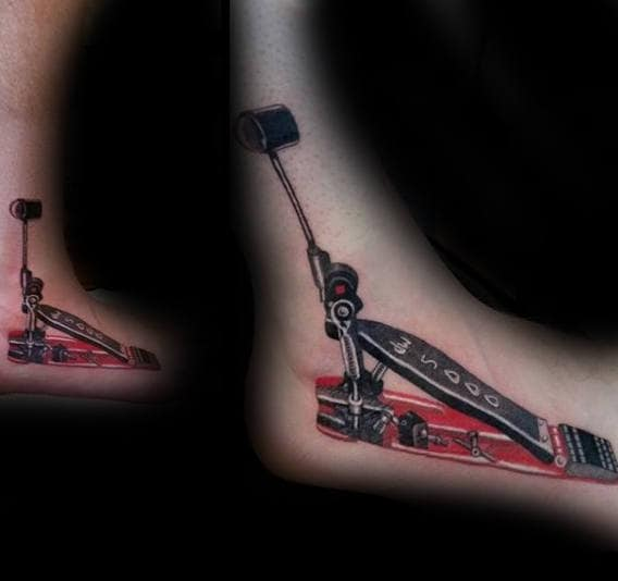 Drum Foot Pedal Mens Tattoo On Foot