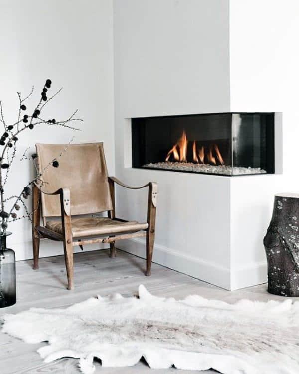Drywall Built In Glass Corner Fireplace Design