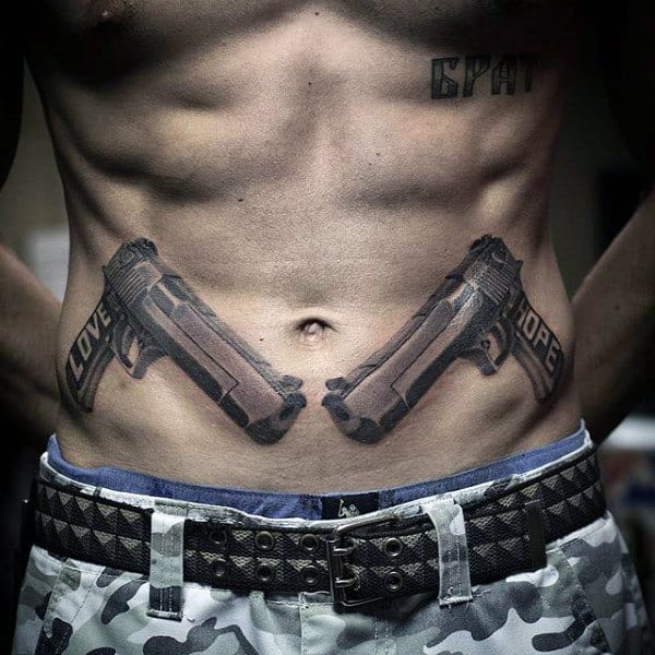 Dual Guns Mens Tattoos On Stomach