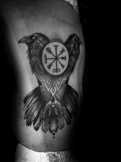 Duble Headed Bird Viking Compass Mens Rib Cage Side Tattoo