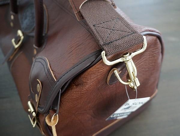 Duluth Pack Bison Leather Sportsman Duffel Attaching Shoulder Strap