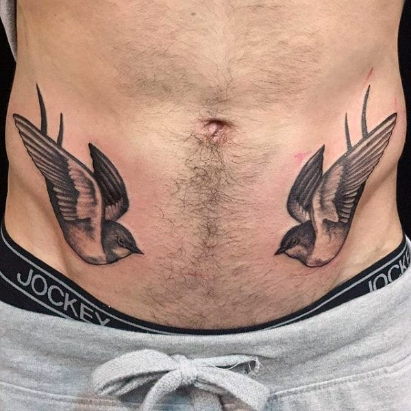 Duo Of Sparrows Tattoo Male Torso
