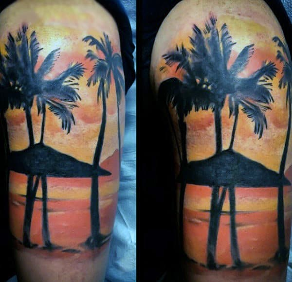 Dusky Beach With Palm Tree Tattoo For Men On Arms