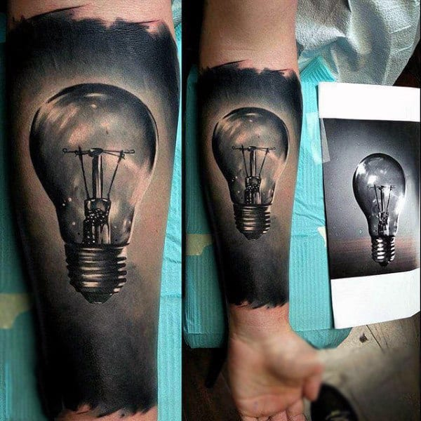 Dusty Grey Shaded Realistic Glass Bulb Tattoo Male Forearms