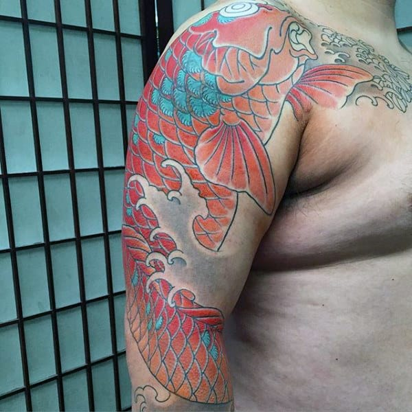 Dusty Red Blue Japanese Sleeve Tattoo For Guys