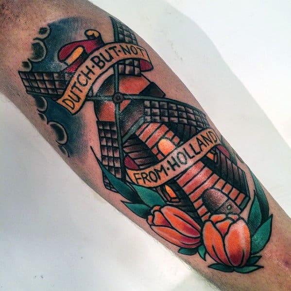 Dutch Windmill Mens Traditional Shin Tattoo Design