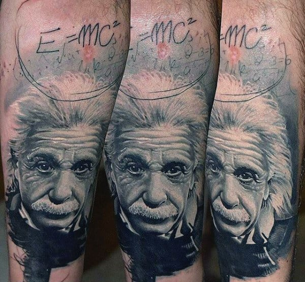 E Equals Mc Squared Einstein Science Tattoo For Men