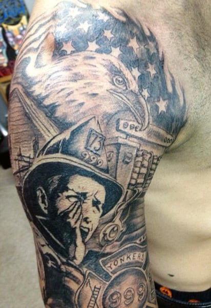 Eagle American Flag Firefighters Tattoos Ideas For Men