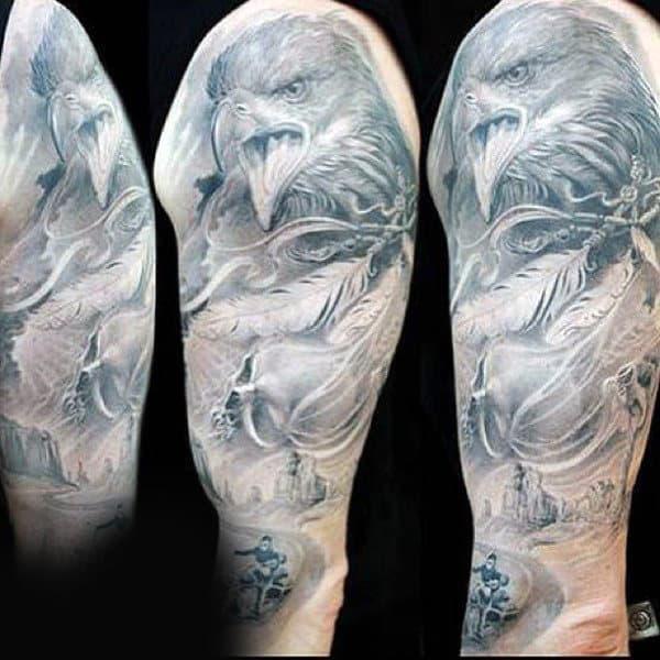 Eagle Biker Mens Full Sleeve Tattoo Ideas