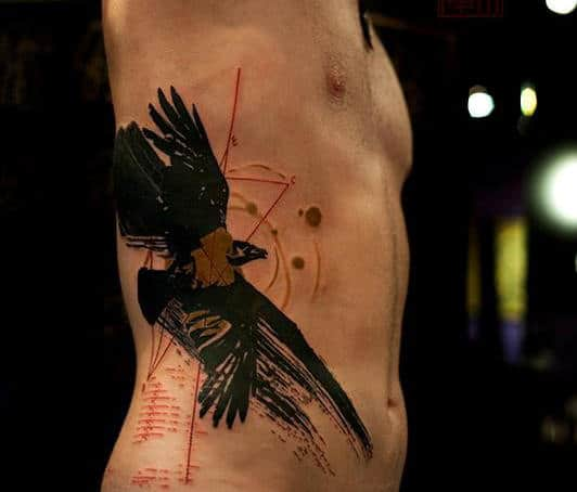 Eagle Bird Rib Tattoos For Men