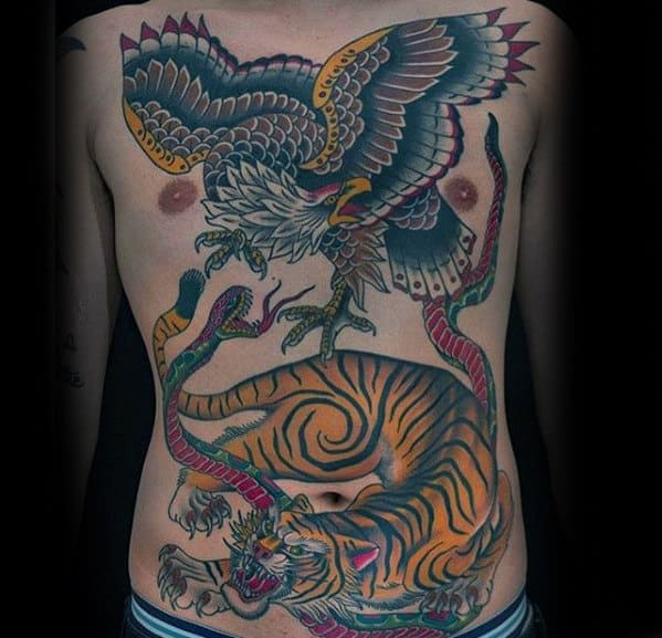 Eagle Bird With Tiger Guys Traditional Chest Tattoo
