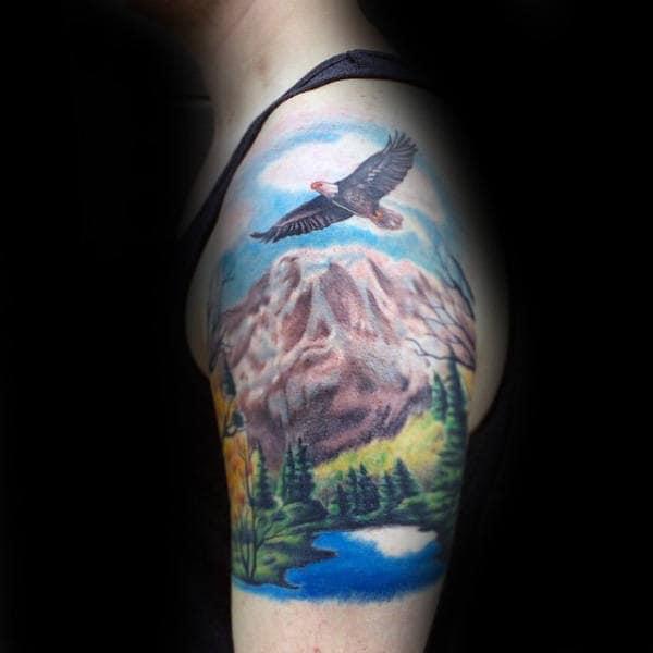 Eagle Flying Over Landscape Half Sleeve Tattoos For Men