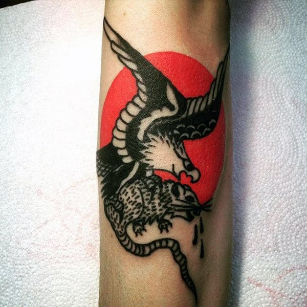 Eagle Flying With Rat And Red Sun Mens Forearm Tattoo