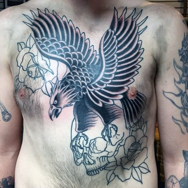 Eagle Flying With Skull Mens Traditional Full Chest Tattoos
