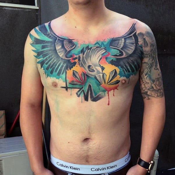 Eagle Graffiti Abstract Watercolor Mens Tattoos On Chest