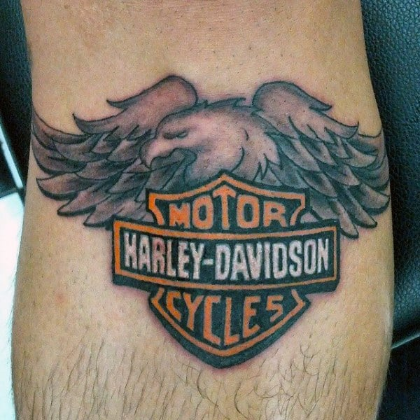 Eagle Harley Davidson Wing Tattoos With Logo For Men