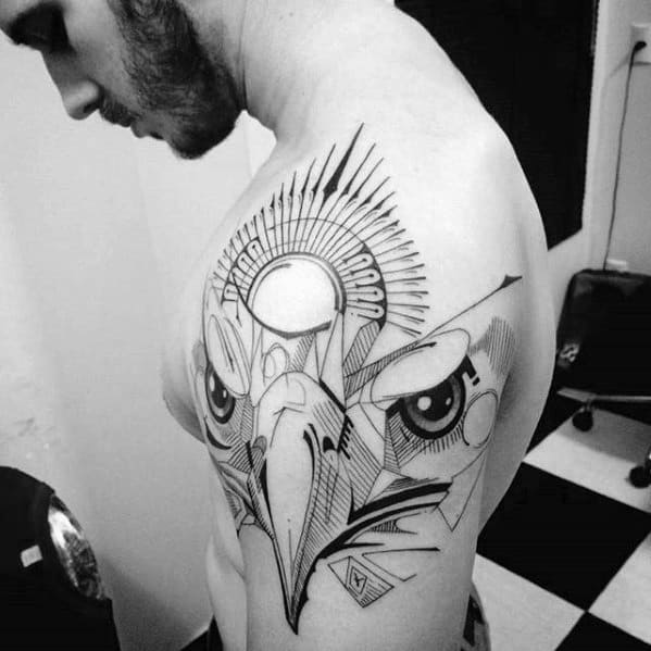Eagle Head Awesome Guys Geometric Lines Arm Tattoo